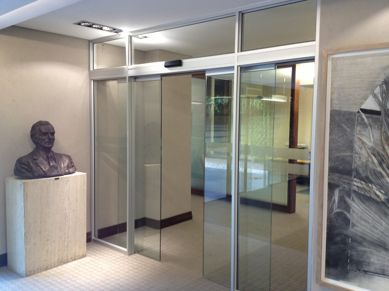 automatic sliding door, frameless